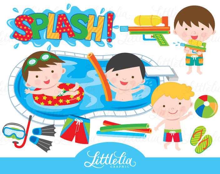 Boy pool party clipart pool party clipart summer clipart.