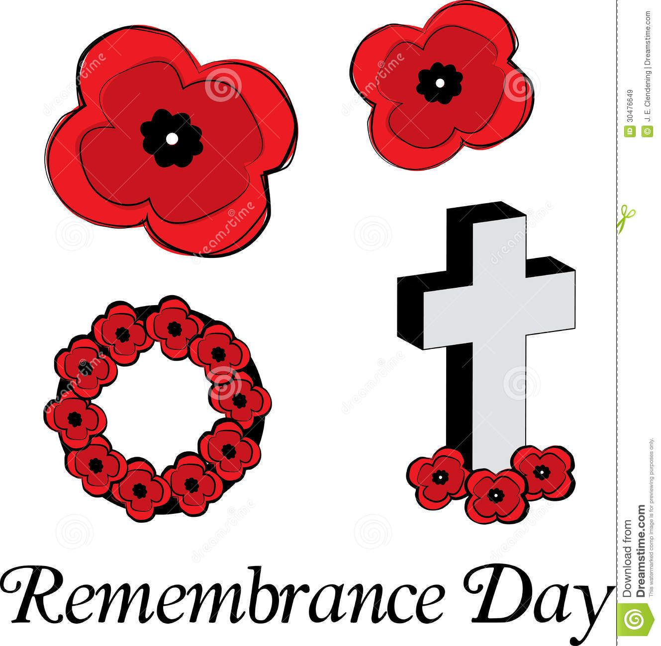 Remembrance Day Poppy Flowers Clipart.