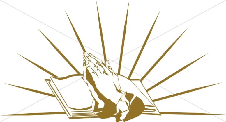 Gold Praying Hands And The Bible.