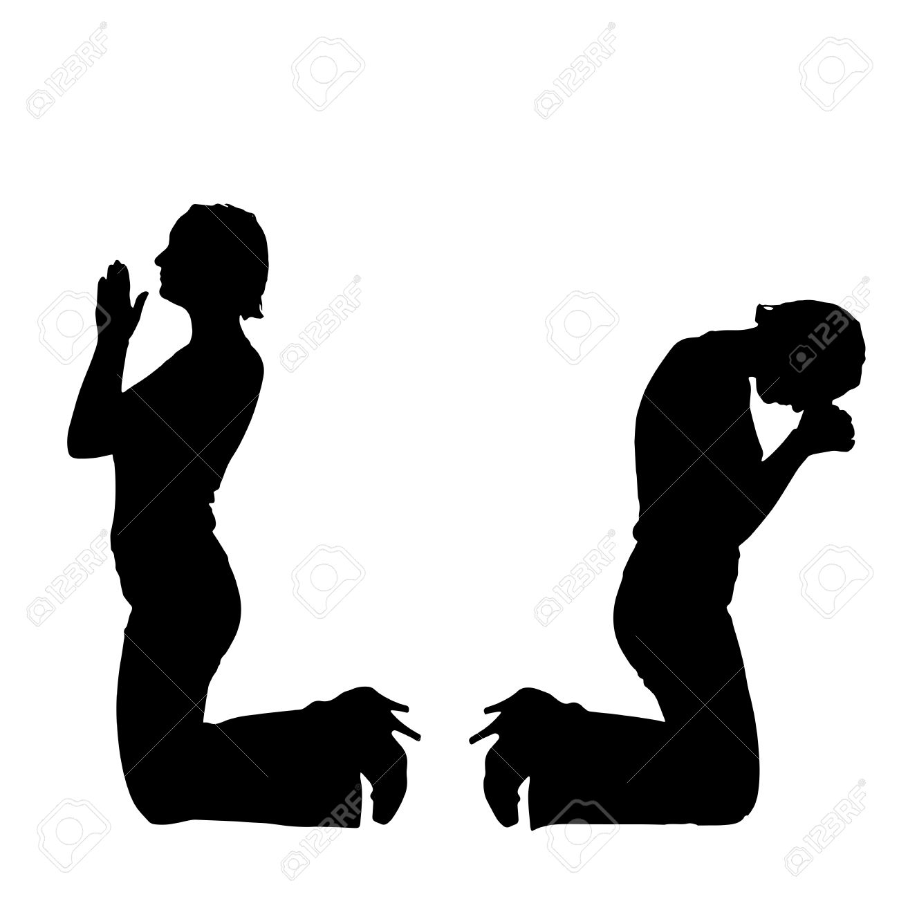 Silhouette Of A Woman Praying Clipart.