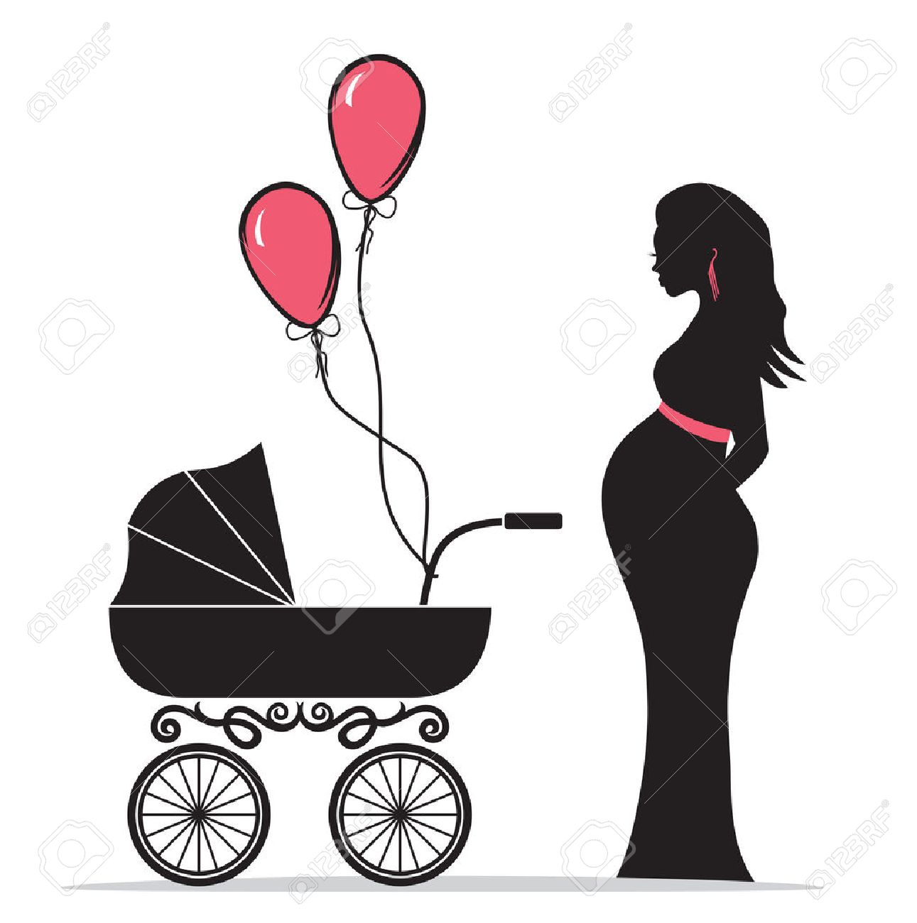 Pregnant woman silhouette with baby carriage.