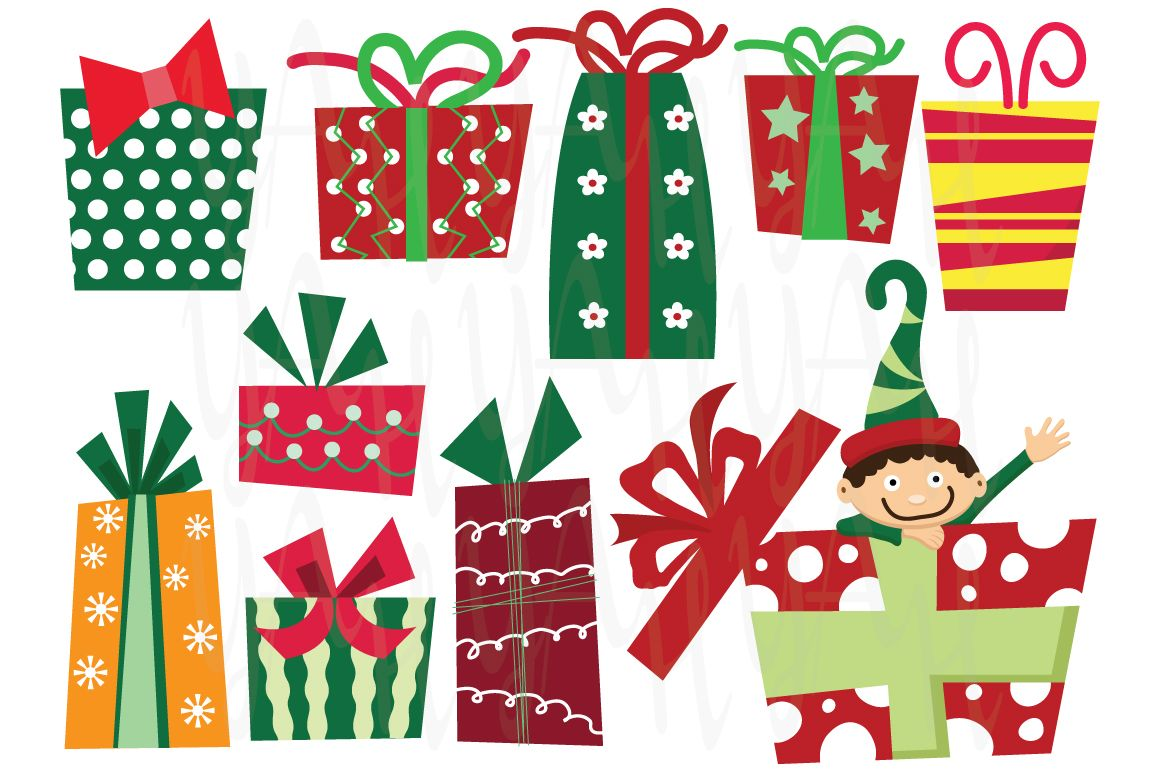 Christmas Presents Clip Art ( Cm015 ) : 15 images set of.