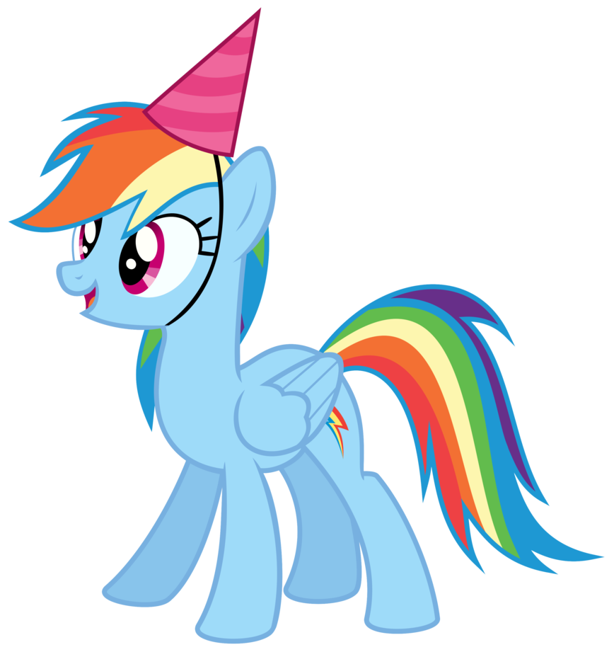 Rainbow Dash with a party hat Vector by Missbeigepony on.