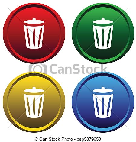Vector Clipart of Plastic buttons with recycle bin.
