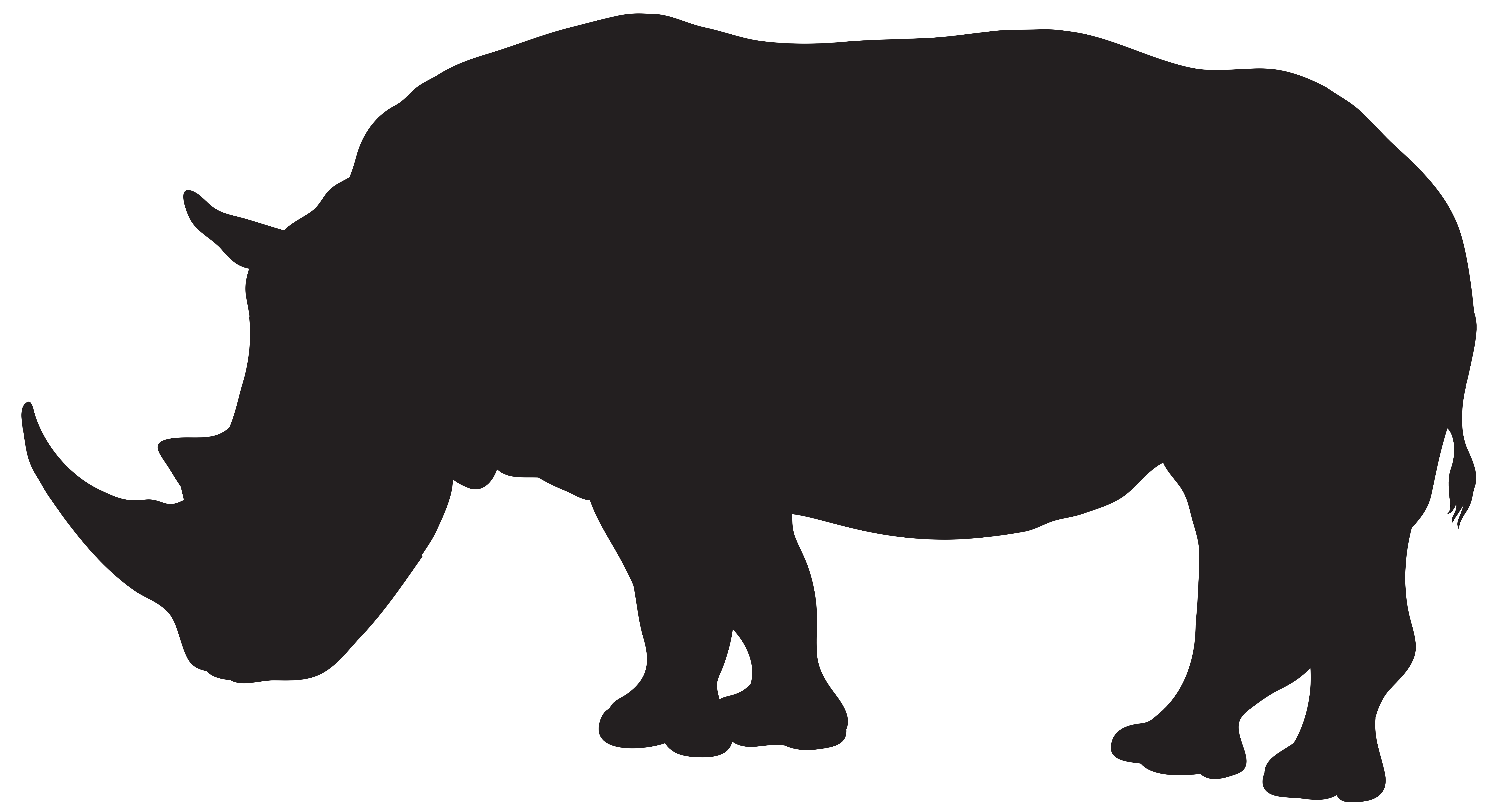 Rhino Silhouette PNG Transparent Clip Art Image.