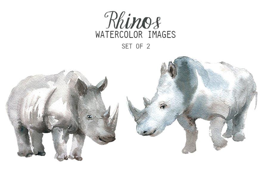Watercolor Rhino Clipart.