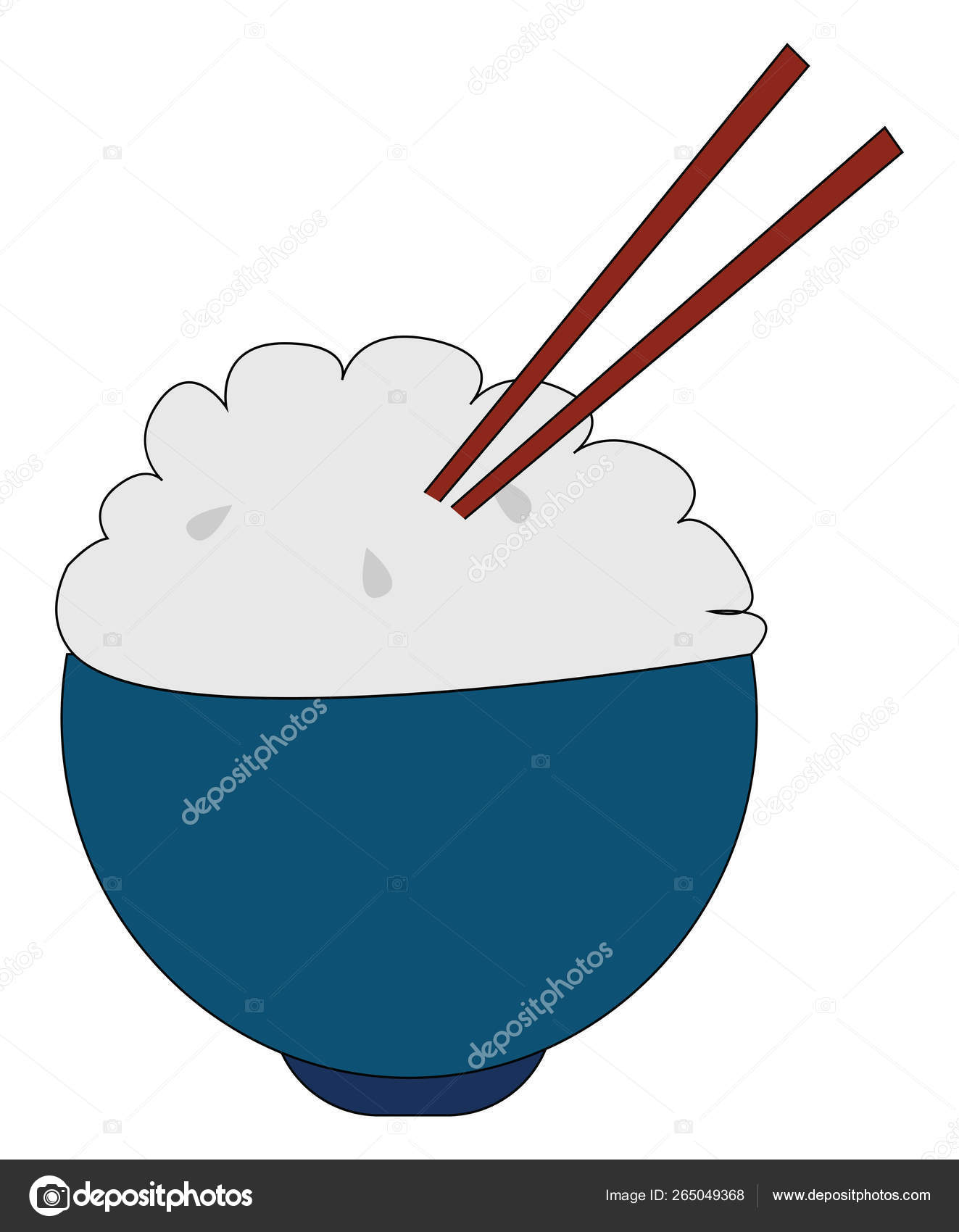Clipart of a bowl of rice with two wooden spatulas vector or col.