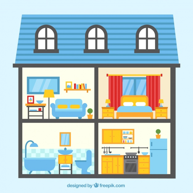 House Clipart With Rooms.