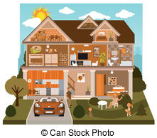 Clip Art Vector of Rooms inside the house.