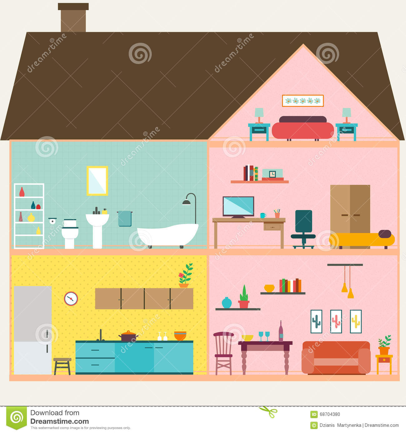 House Inside With Rooms Vector Stock Vector.