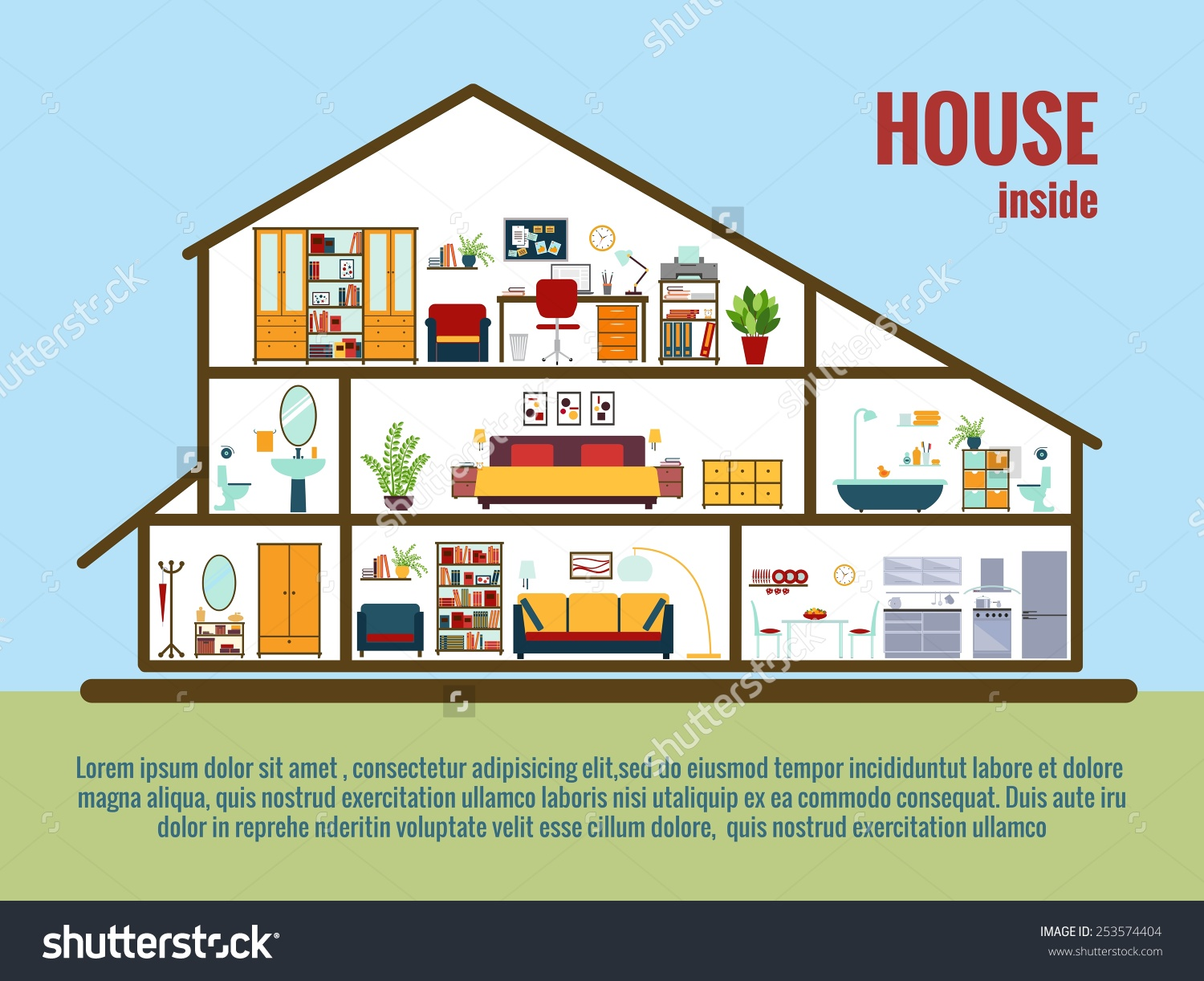Vector House Interior House Plan Crosssectional Stock Vector.