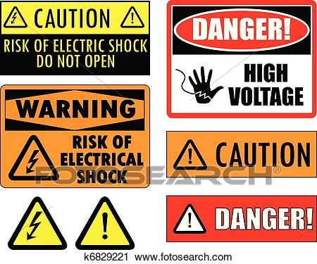 Safety electrical signs Clipart.