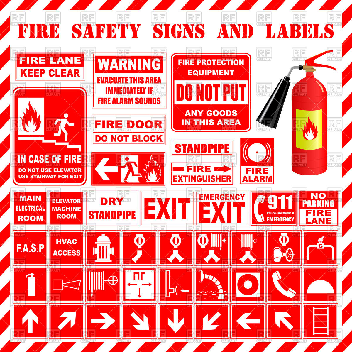 Fire safety signs Stock Vector Image.
