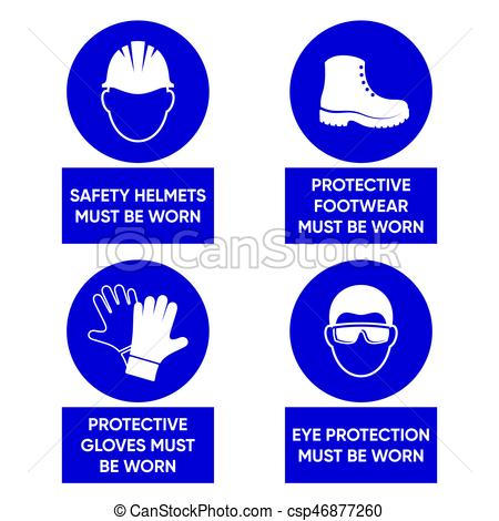 Mandatory health safety signs.