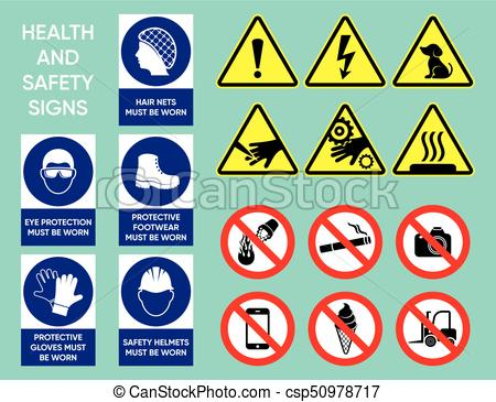 Health and safety signs collection.