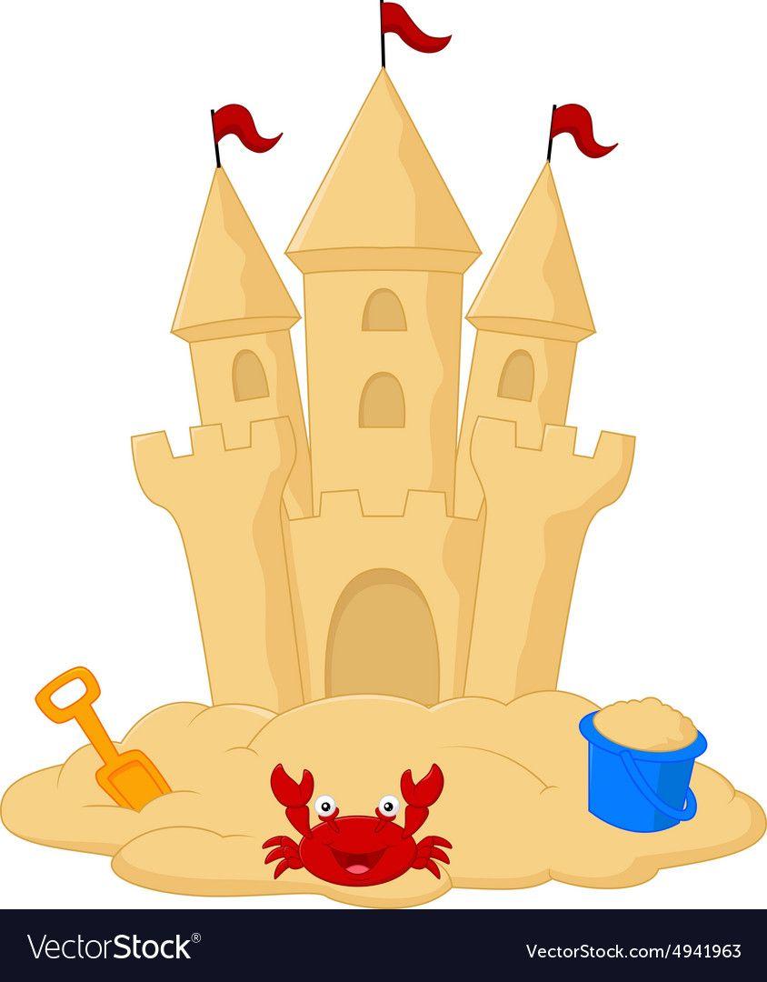 Sand castle cartoon Royalty Free Vector Image.