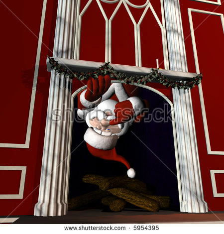 Santa Claus Fireplace Stock Images, Royalty.