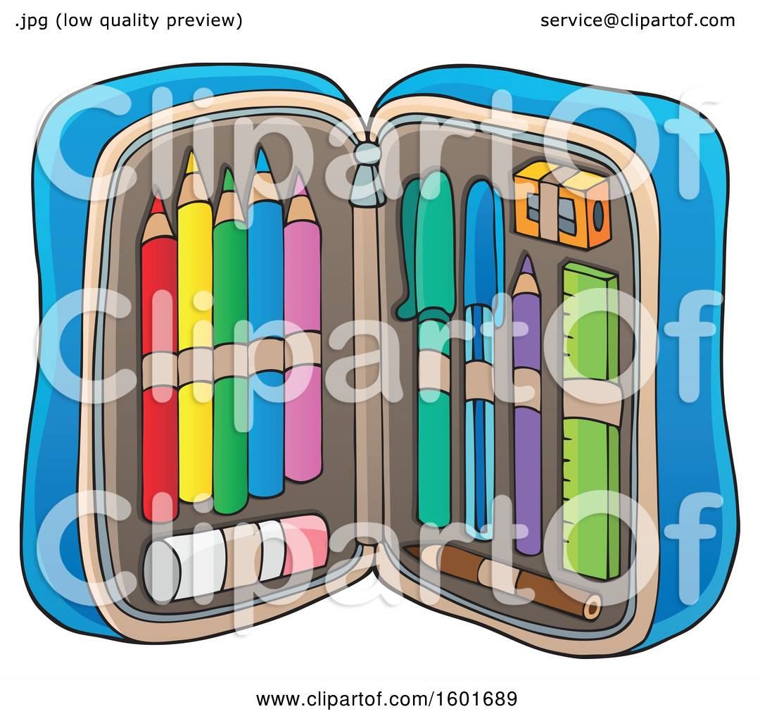Clipart of a Pencil Pouch Full of School Supplies.