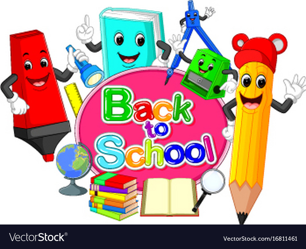Back to school title texts with school items.