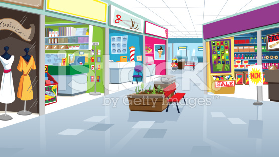 Inside shopping mall clipart.