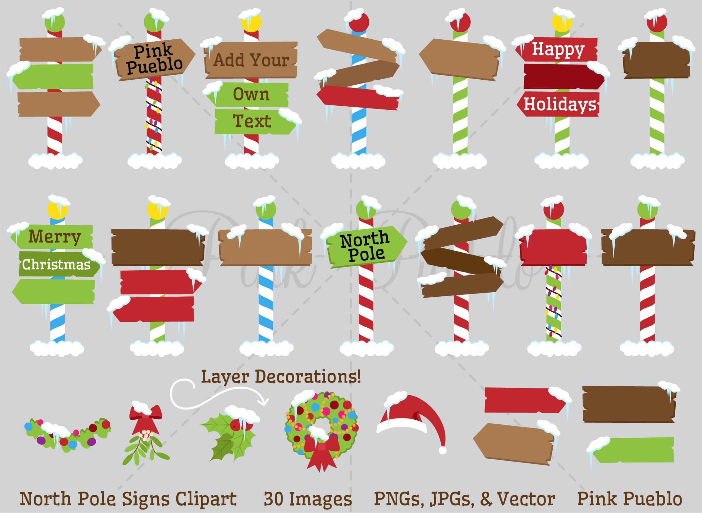 North Pole Or Santa's Workshop Signs Clipart and Vectors.