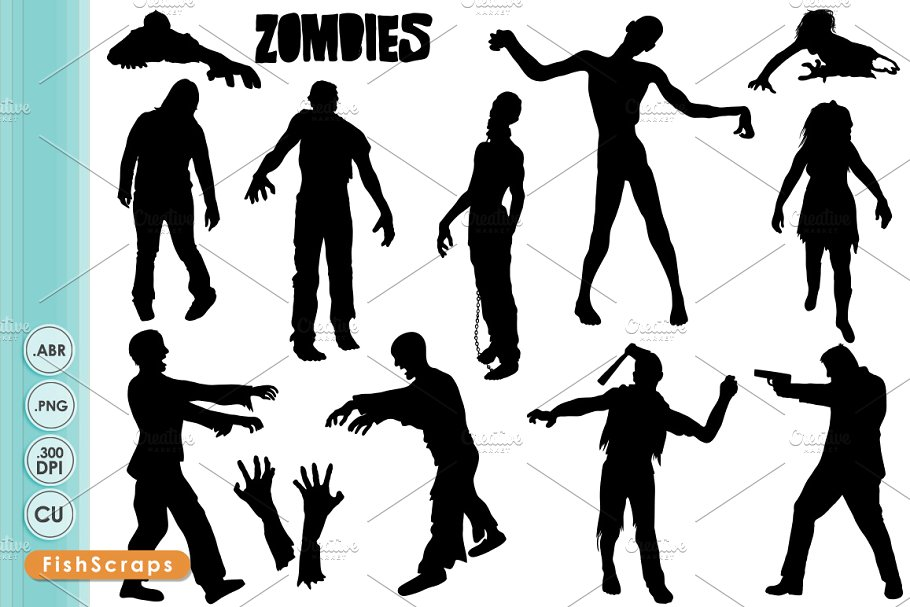 Zombie ClipArt Silhouettes.