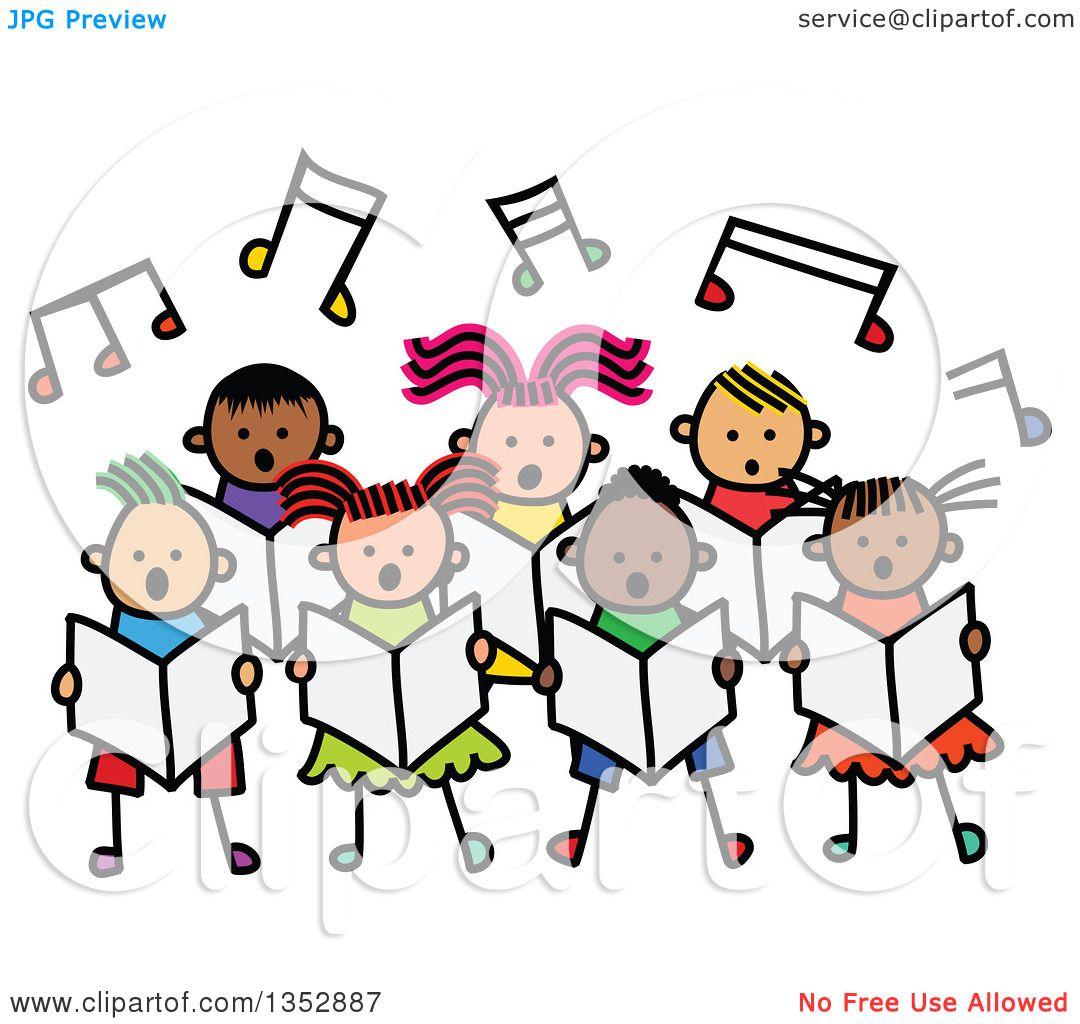 Clipart of a Doodled Toddler Art Sketched Group of Children Singing.