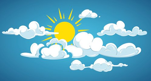 Blue sky, sun and white clouds vector illustration Clipart.