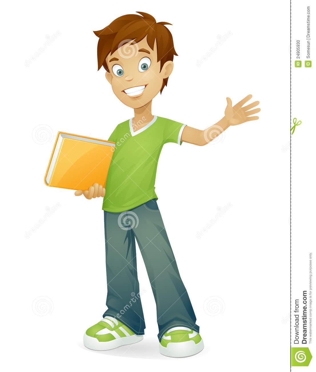 Vector Happy School Boy Smiling Waving Stock Photo.