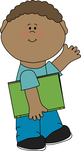 Boy Carrying Book and Waving Clip Art.