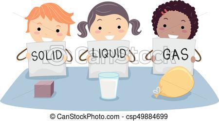 Stickman Kids Physics Solid Liquid Gas.