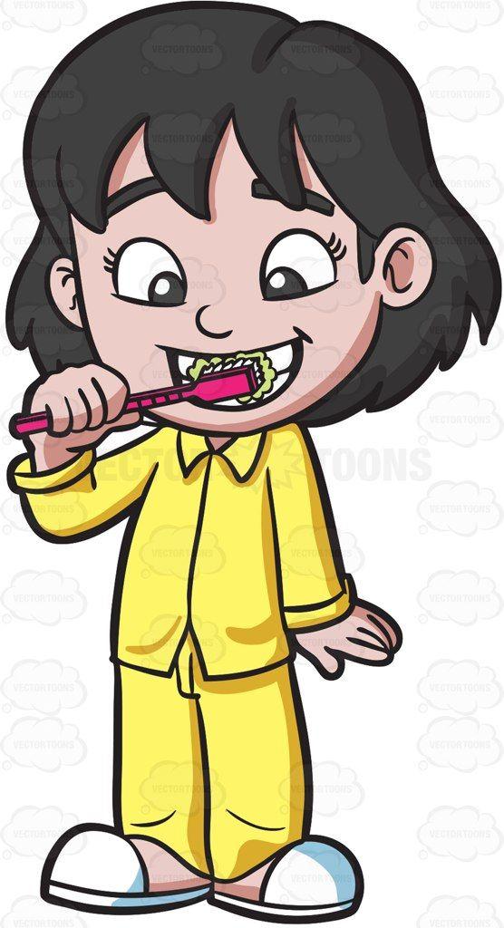 Person Brushing Their Teeth Clipart.