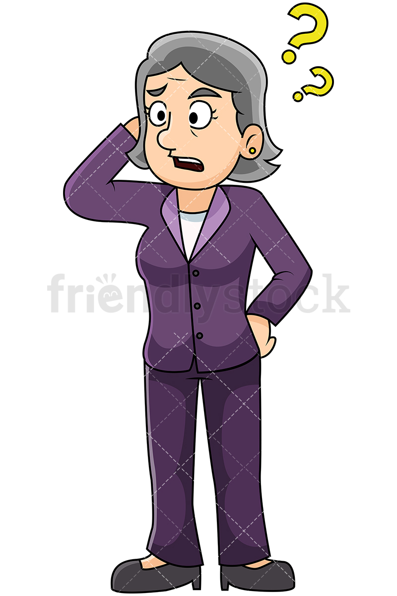Confused Mature Woman Scratching Her Head And Mumbling.