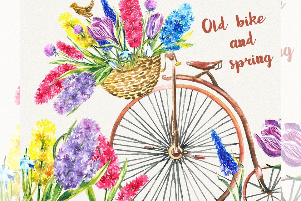 Bike clipart Garden clipart Spring flower clipart.