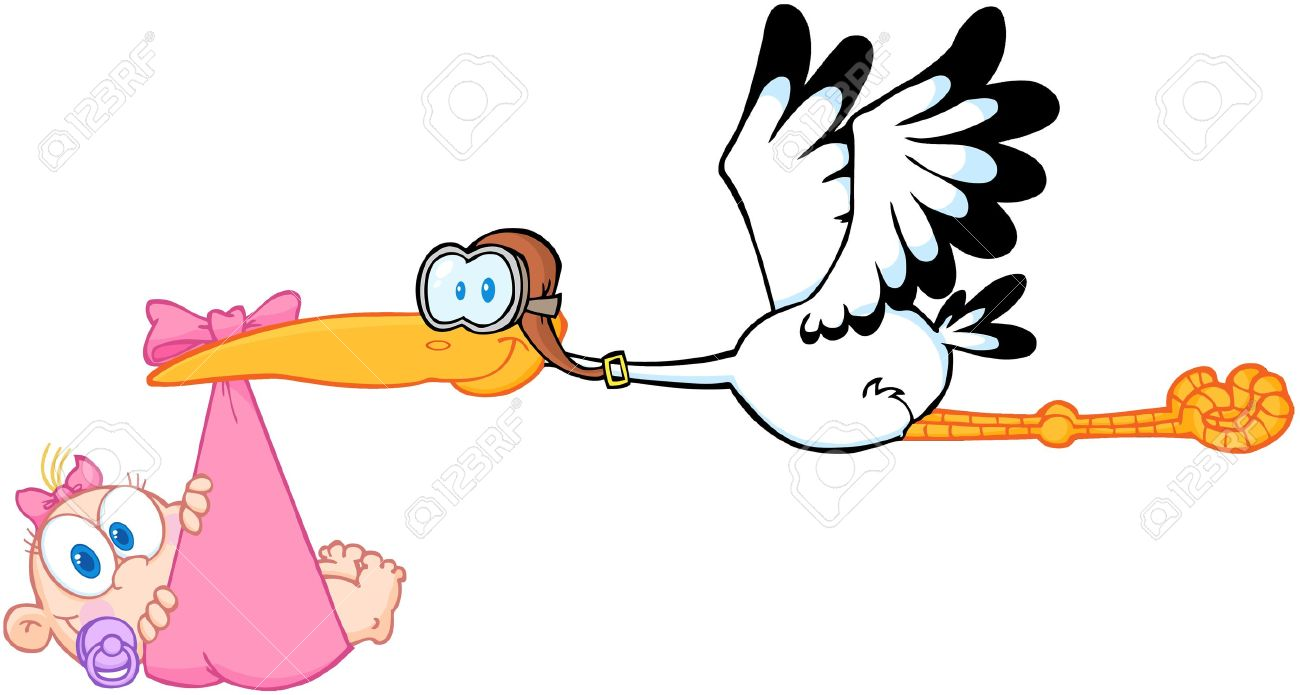Showing post & media for Cartoon stork carrying baby girl.