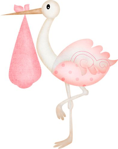 Clipart Stork And Baby Girl.