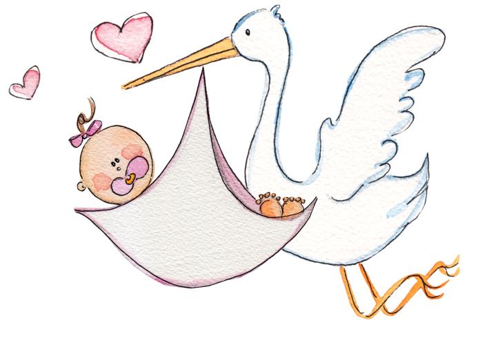 Baby Girl Stork Clipart.