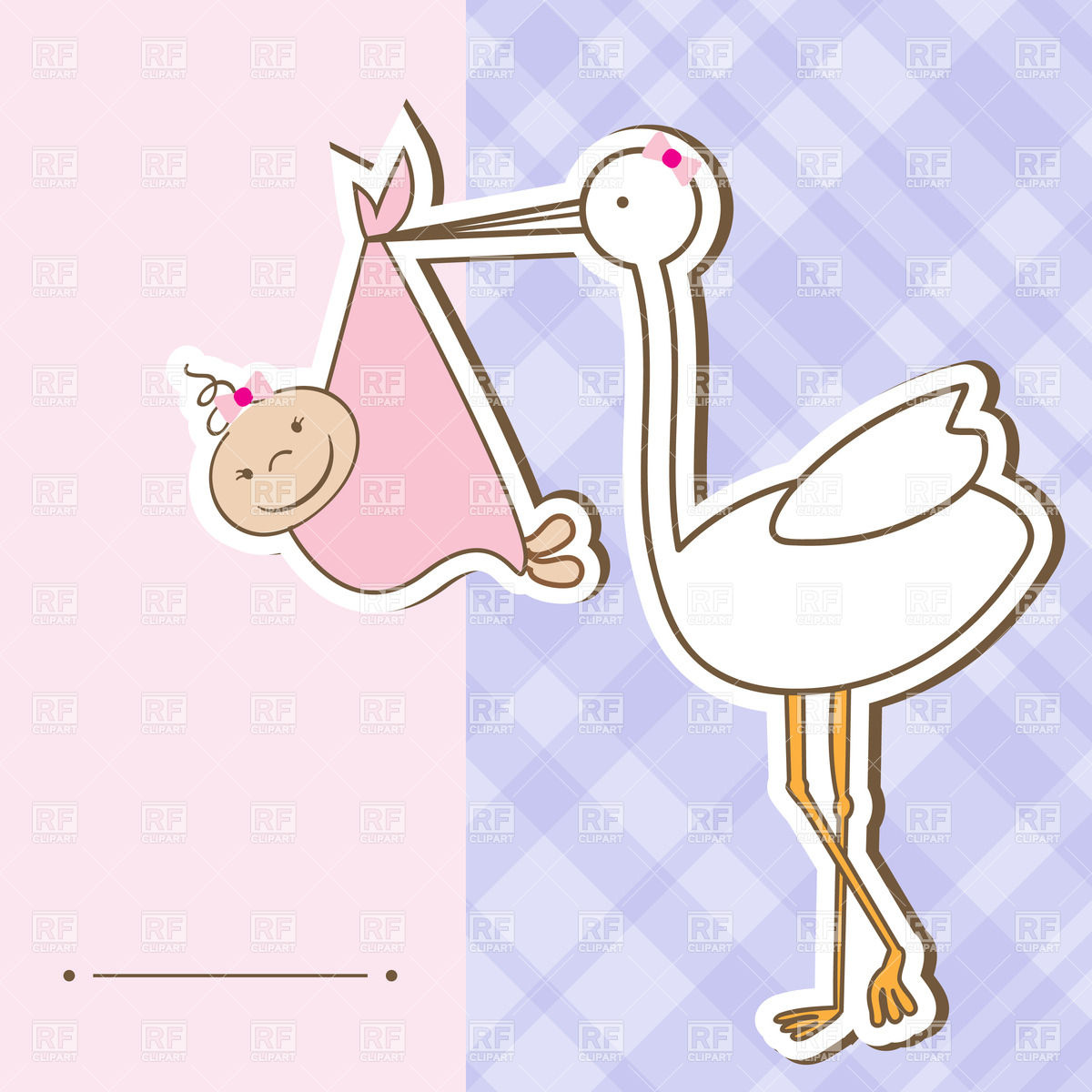 Stork holding baby girl and place for text Vector Image #23482.