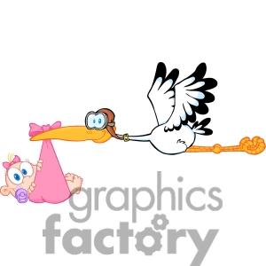 Free Clipart Baby Girl Stork.