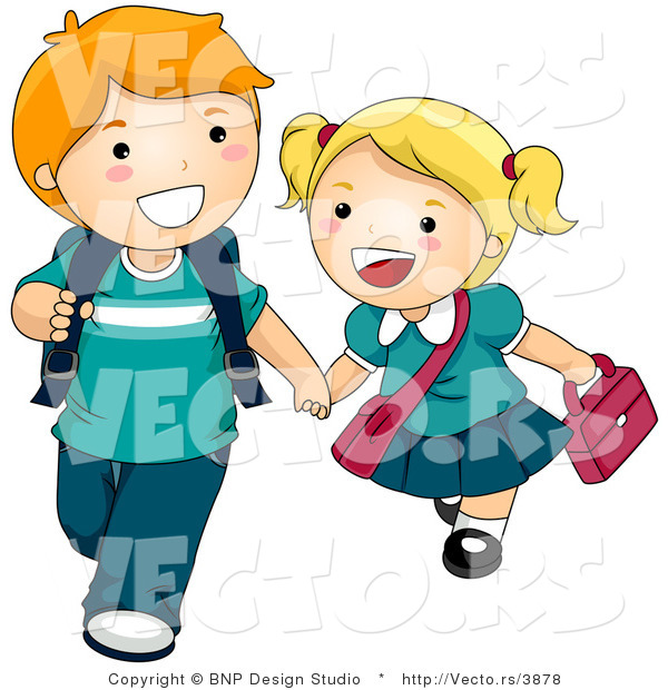 Clipart Of Student Raising Hand And Walking.
