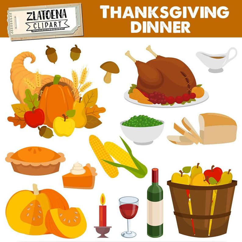 Thanksgiving Dinner Clip Art Thanksgiving graphic set Give Thanks digital  clipart Pilgrim clipart Thanksgiving graphics Turkey clipart.