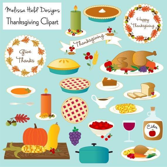 Thanksgiving Dinner Clip Art Set Turkey Pu #380021.