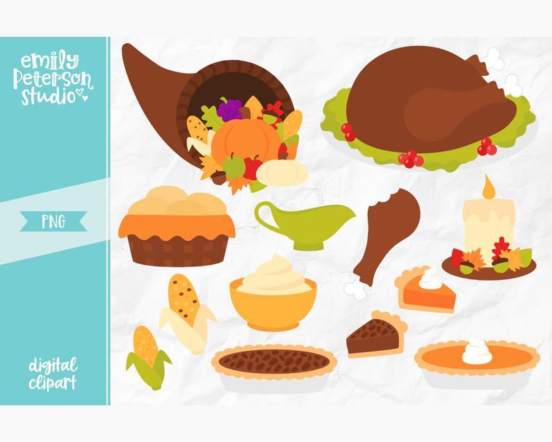 Thanksgiving Clip Art, Turkey Clipart, Thanksgiving Dinner Clip Art.