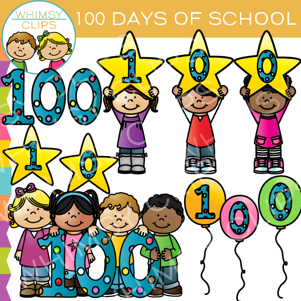 One Hundred Days of School Clip Art , Images & Illustrations.