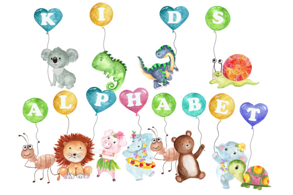 Kids alphabet clipart.