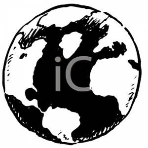 Earth Clipart Black And White.