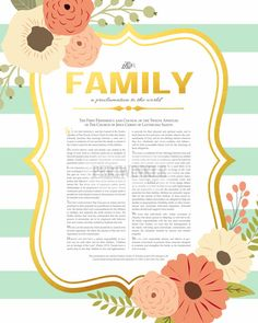 LDS Family Proclamation Printable 8x10, 11x14, or 16x20 Digital.