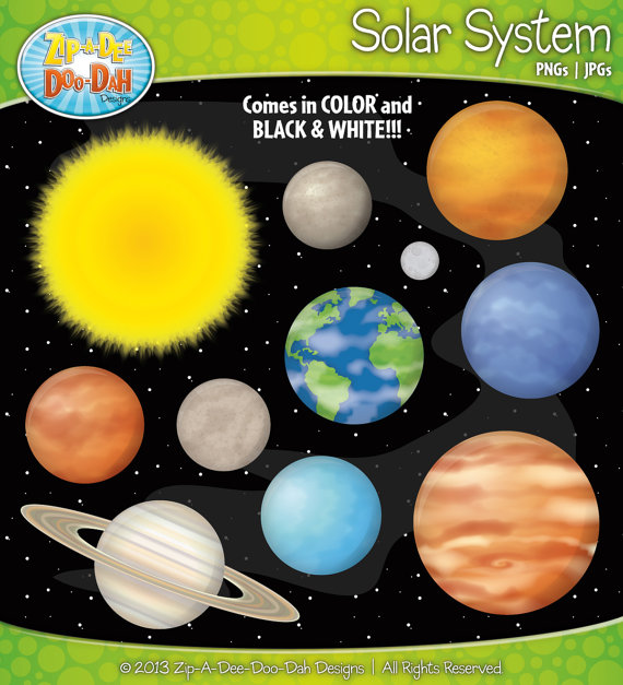 Solar System and Planets Clipart Set.