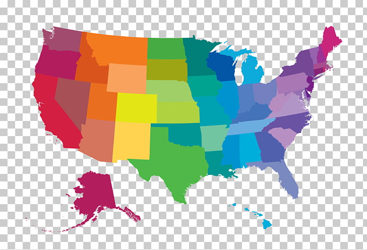 United States Map World map, color map, multicolored map.