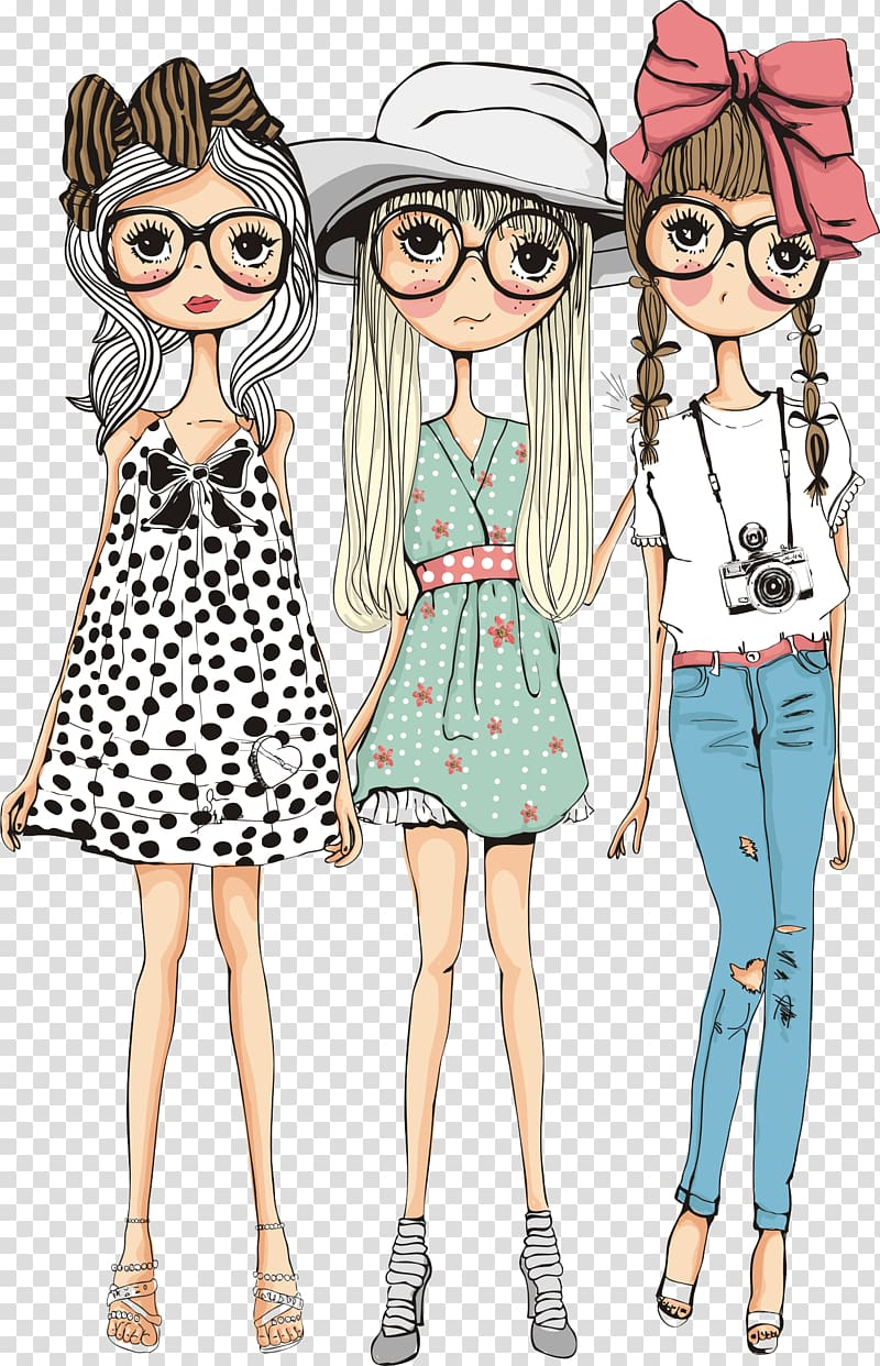 Three beautiful girls, three girl illustration transparent.